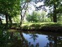 Opatovický kanál protéká kolem sádek v Bohdanči.